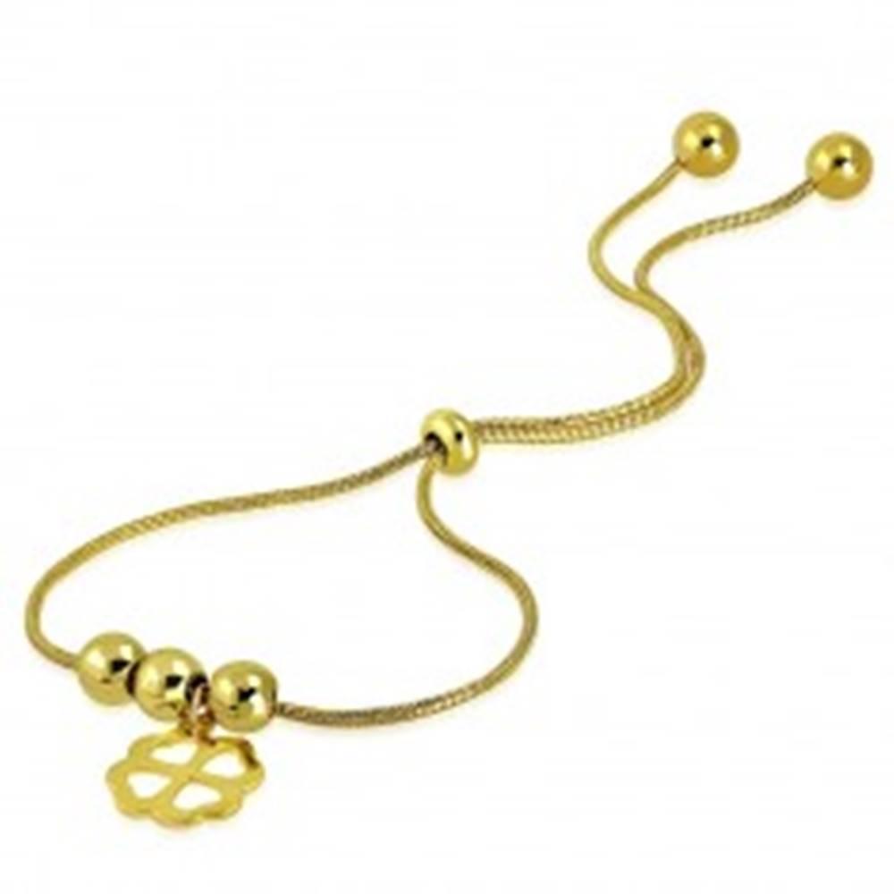 Šperky eshop Oceľový náramok zlatej farby - štvorlístok pre šťastie, guľôčky, vzor hadej kože