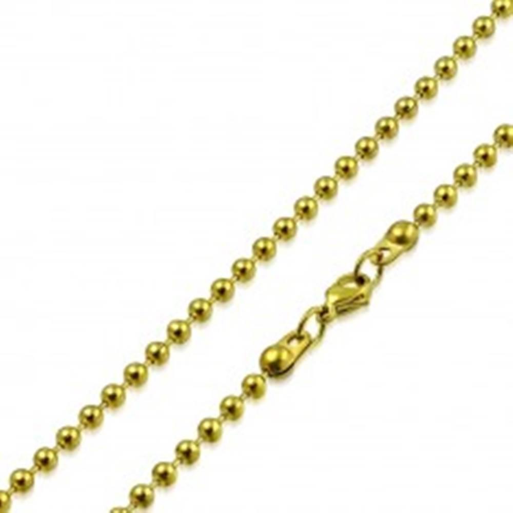 Šperky eshop Retiazka zlatej farby z chirurgickej ocele - lesklé guľôčky oddelené paličkami, 2,5 mm