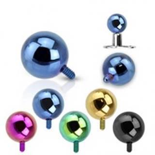 Gulička do implantátu z ocele 316L - anodizovaný povrch, rôzne farby, 3 mm - Farba piercing: Čierna