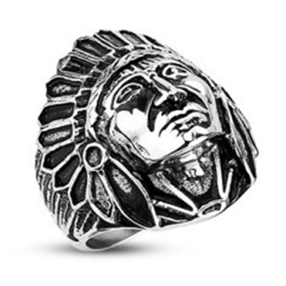 Šperky eshop Oceľový prsteň- indián Apač, čierna patina - Veľkosť: 59 mm