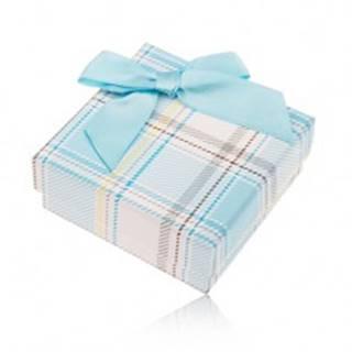 Darčeková krabička na prsteň a náušnice, károvaný motív, svetlomodrá mašlička
