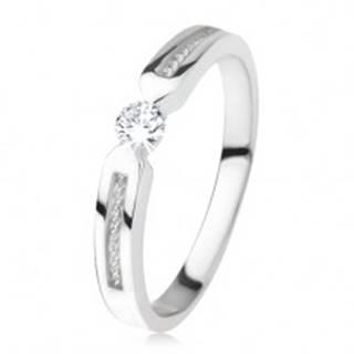 Lesklý prsteň zo striebra 925, číry zirkón, dva pásy, špirála - Veľkosť: 45 mm