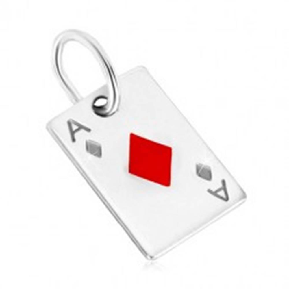 Šperky eshop Prívesok zo striebra 925 - motív hracej karty, kárové eso s červenou glazúrou