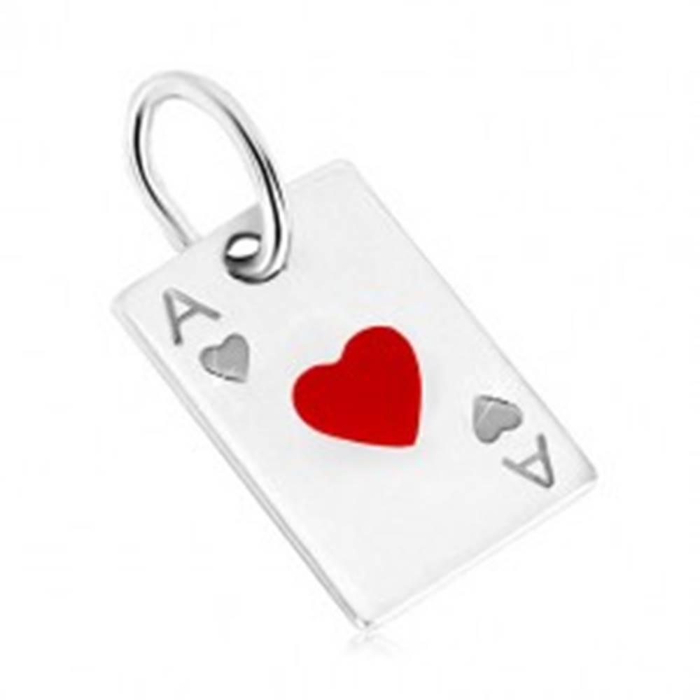 Šperky eshop Prívesok zo striebra 925 - motív hracej karty, srdcové eso a červená glazúra