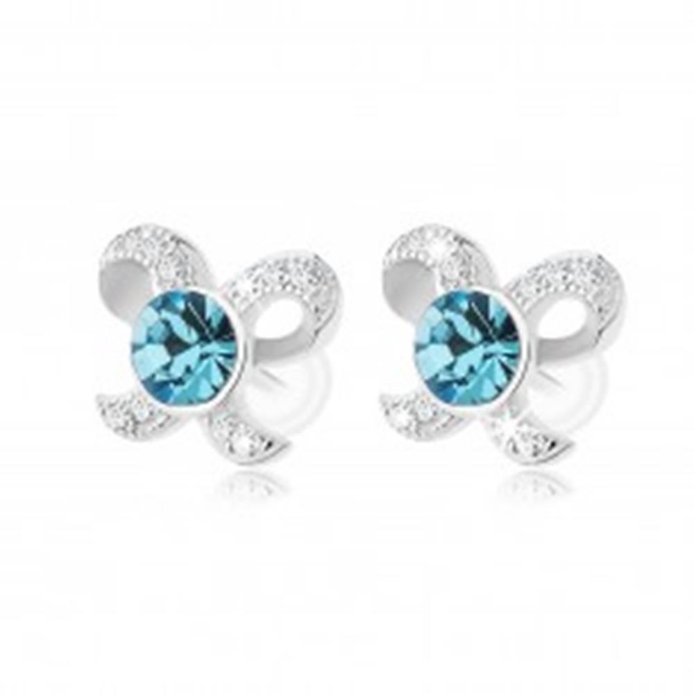 Šperky eshop Strieborné náušnice 925, ligotavá mašlička, okrúhly zirkón modrej farby