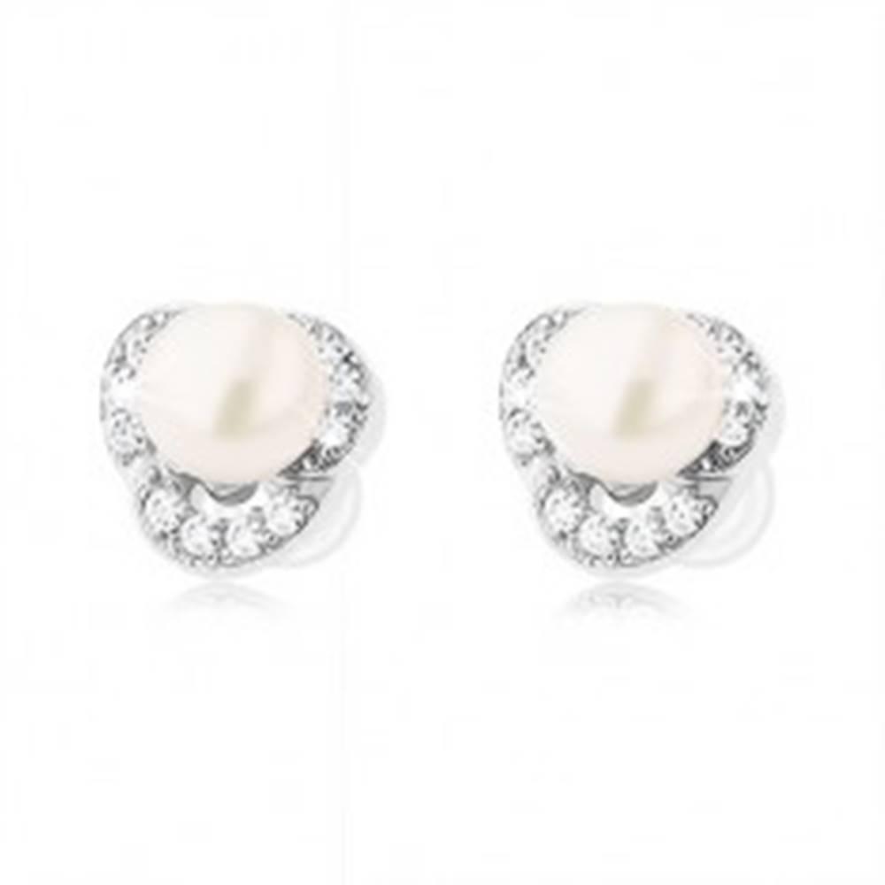 Šperky eshop Strieborné náušnice 925, tri číre zirkónové oblúčiky, biela perla
