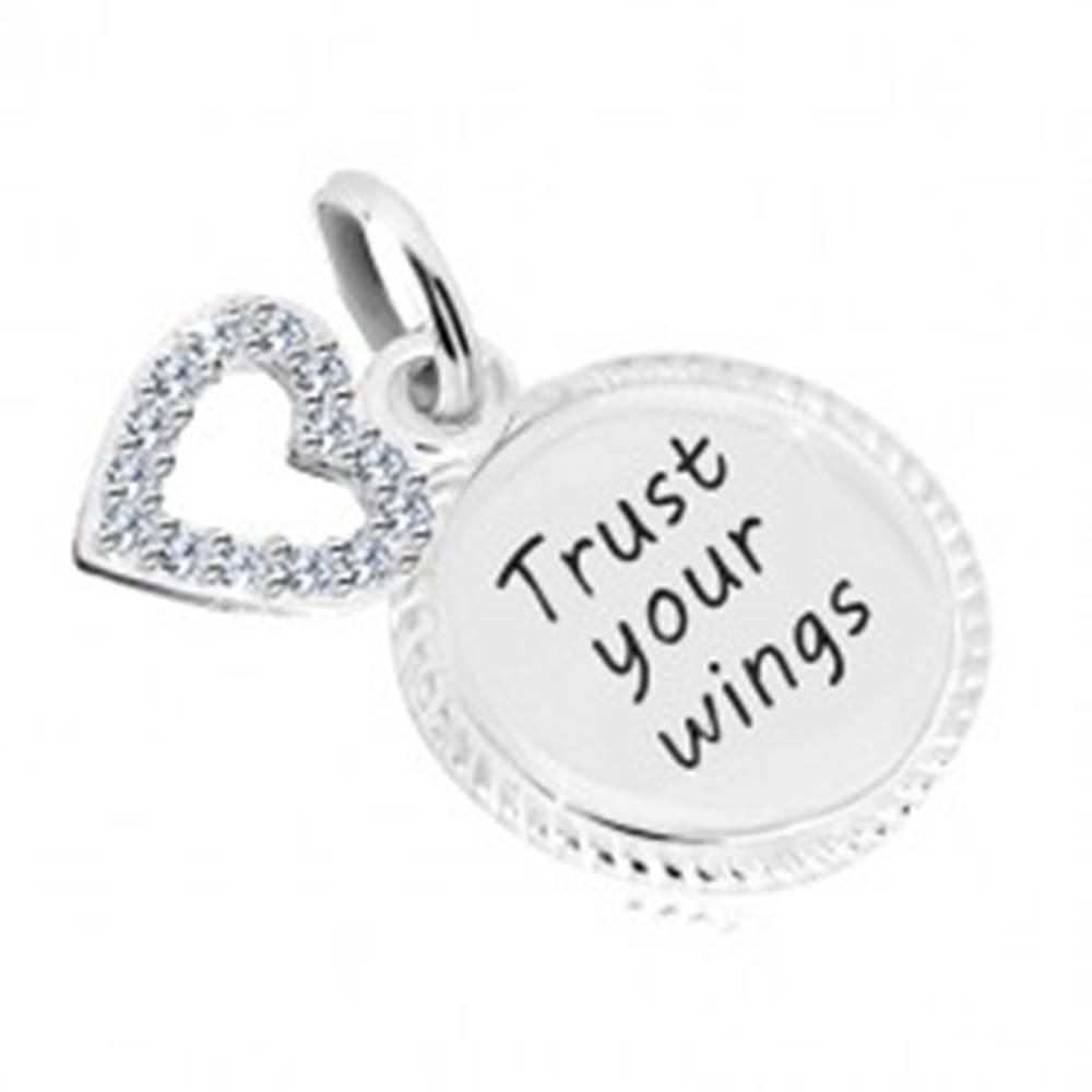 """Šperky eshop Strieborný 925 prívesok - krúžok s nápisom """"Trust your wings"""", kontúra srdca so zirkónmi"""