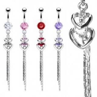 Piercing do bruška z ocele 316L - dve srdcia, zirkóny a retiazka - Farba zirkónu: Červená - R