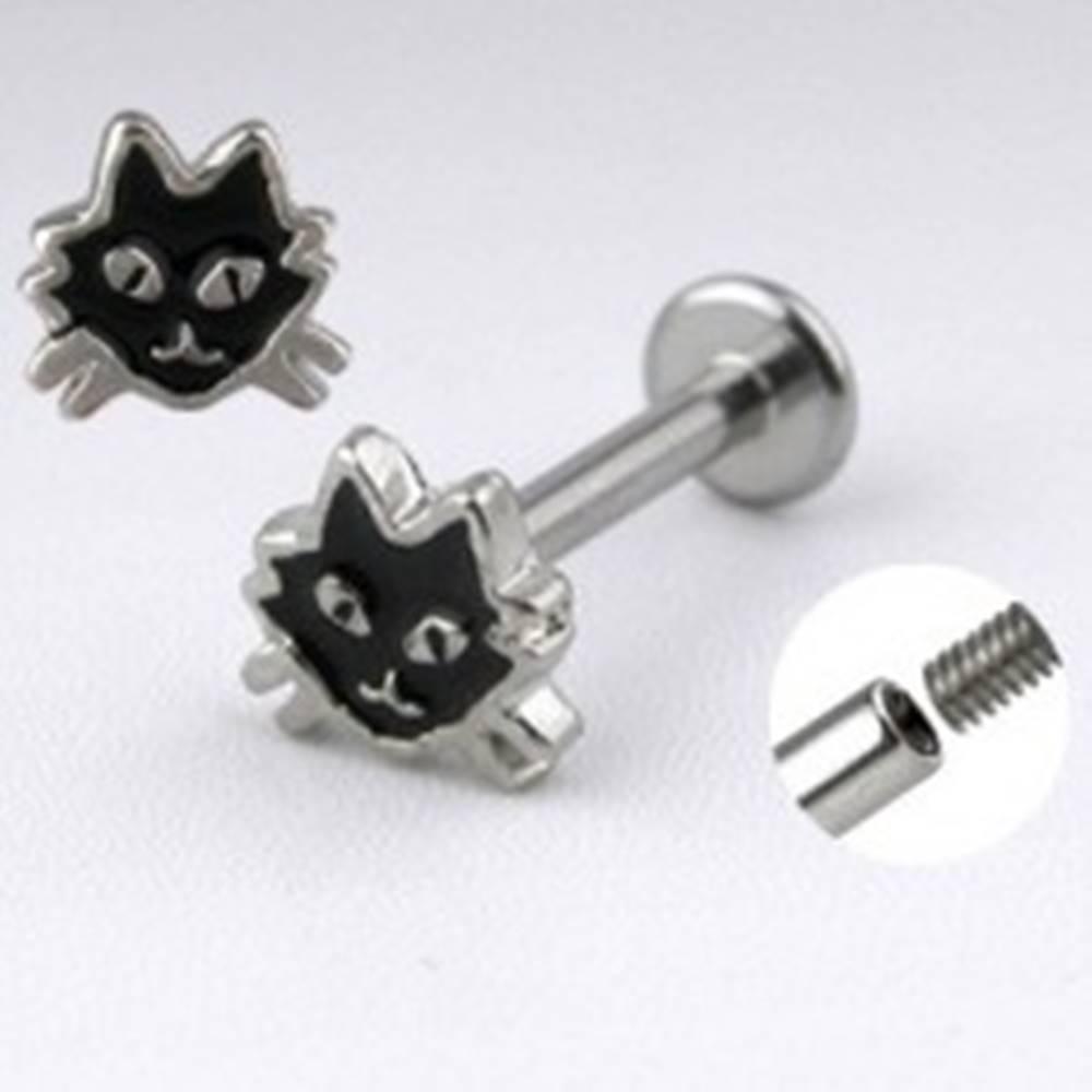 Šperky eshop Oceľový labret striebornej farby - mačka s čiernou glazúrou