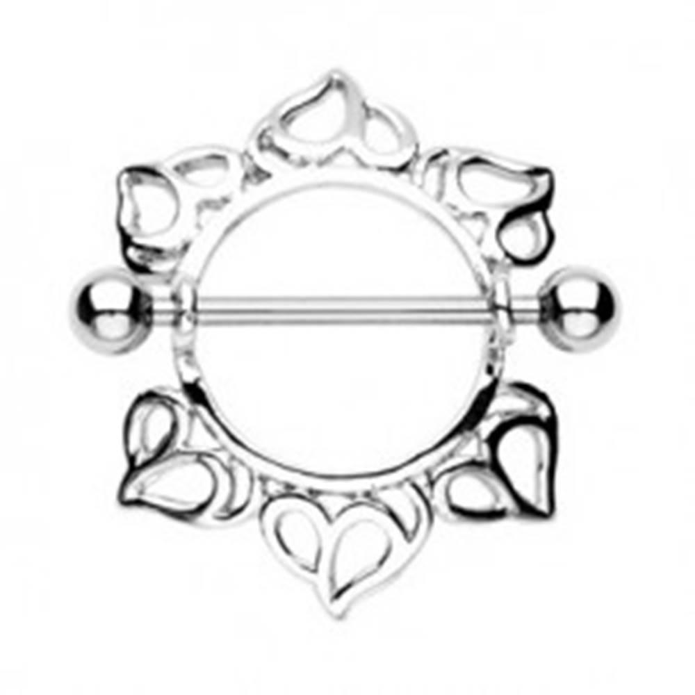 Šperky eshop Piercing do bradavky - činka s guličkami, kvet s vyrezávanými lupienkami, 2 kusy