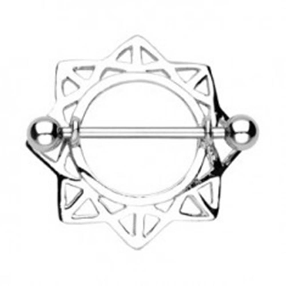 Šperky eshop Piercing do bradavky slnko s trojuholníkovými výrezmi - 2 kusy