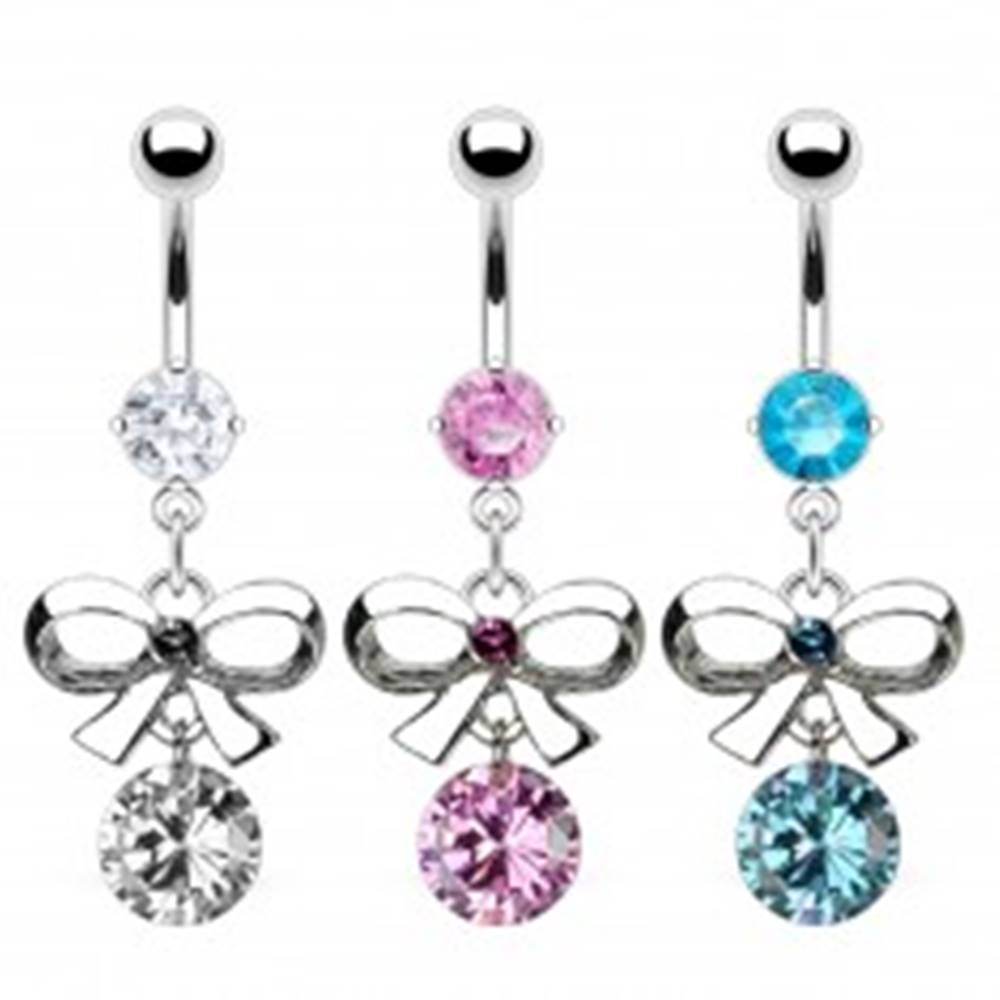 Šperky eshop Piercing do bruška - mašlička a zirkón - Farba zirkónu: Aqua modrá - Q