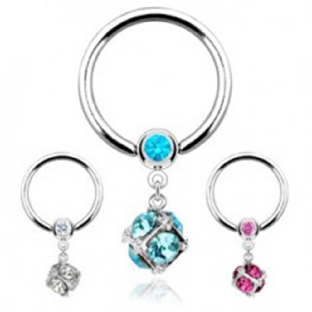 Šperky eshop Piercing z ocele 316L, krúžok s guľôčkou a kocka vykladaná zirkónmi - Farba zirkónu: Aqua modrá - Q
