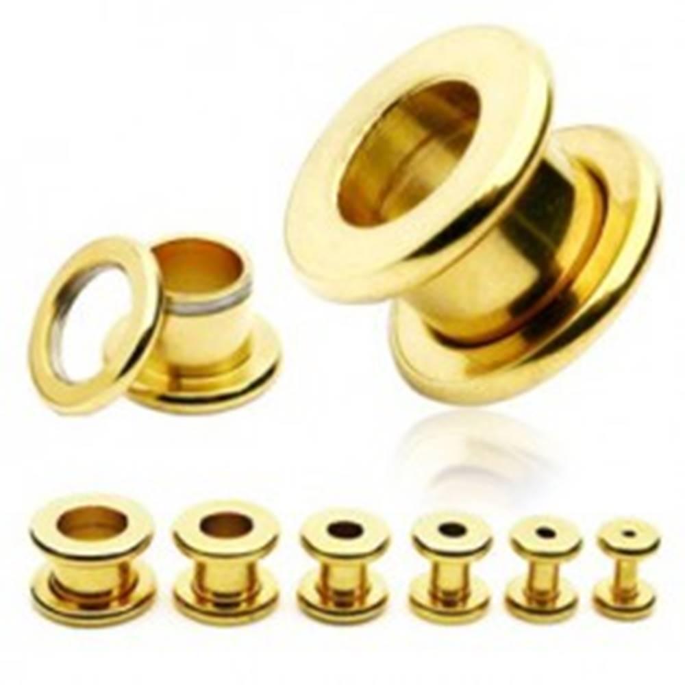 Šperky eshop Tunel do ucha z chirurgickej ocele - lesklý povrch zlatej farby - Hrúbka: 10 mm
