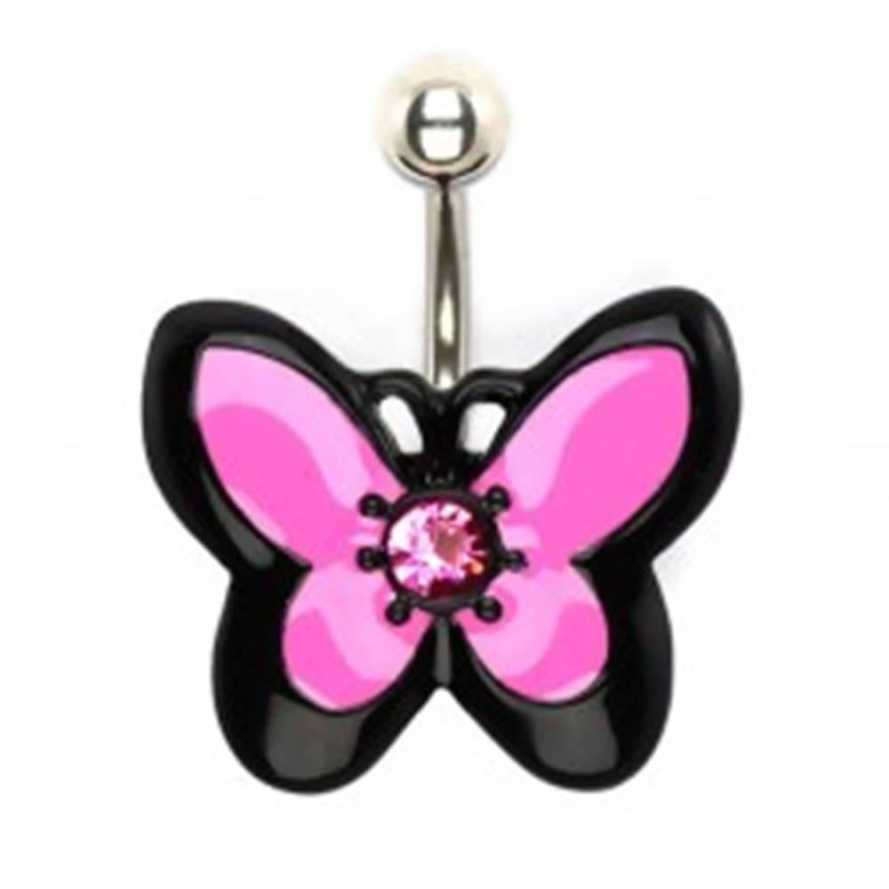 Šperky eshop Piercing do bruška z ocele, ružovo-čierny motýľ so zirkónom
