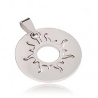 Dvojdielny prívesok z ocele, kruhová známka a slnko