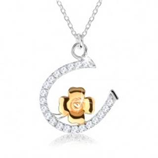 Strieborný náhrdelník 925 - retiazka s podkovičkou a štvorlístkom pre šťastie