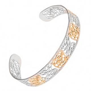 Vyrezávaný pieskovaný náramok zlato-striebornej farby z ocele, motív ruží