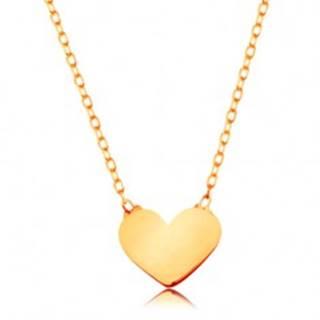 Zlatý 14K náhrdelník - ligotavá tenká retiazka, prívesok - malé ploché srdiečko