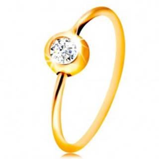 Zlatý 14K piercing do nosa - žlté zlato, lesklý krúžok s čírym zirkónom v objímke