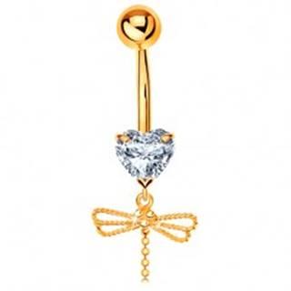 Zlatý 375 piercing do pupku - číre srdiečko, visiaca vážka s ohybným chvostom