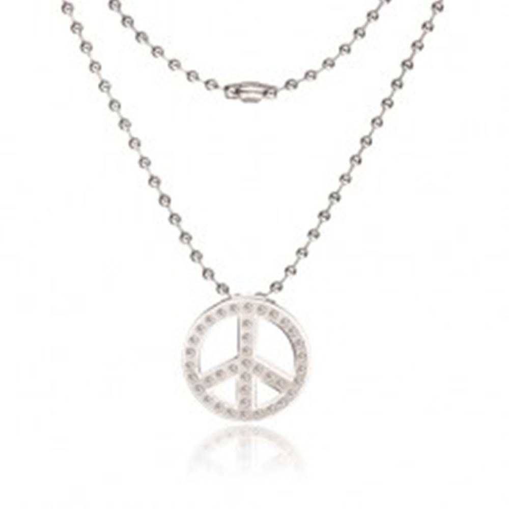 Šperky eshop Náhrdelník z chirurgickej ocele - armádna retiazka, symbol Peace