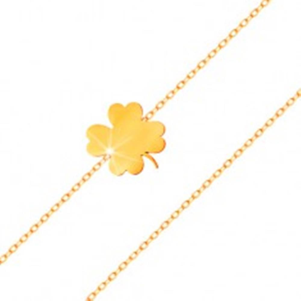 Šperky eshop Náramok v žltom 14K zlate - lesklý štvorlístok, tenká retiazka z oválnych očiek