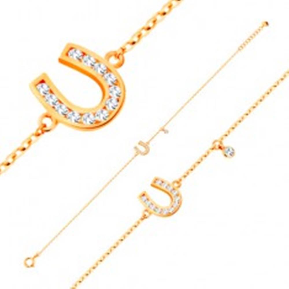Šperky eshop Náramok v žltom 14K zlate - trblietavá podkovička, visiaci číry zirkón