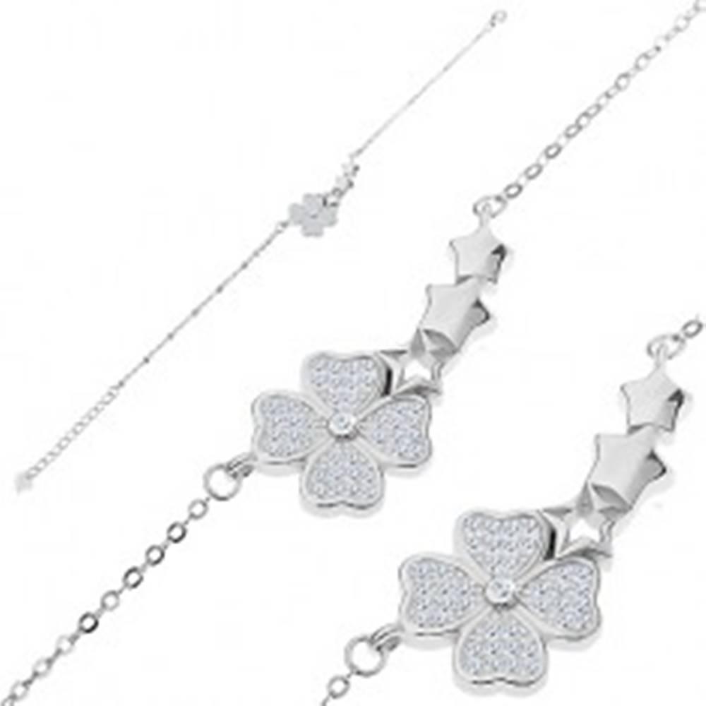 Šperky eshop Náramok zo striebra 925, zirkónový štvorlístok a oblúk z troch hviezdičiek