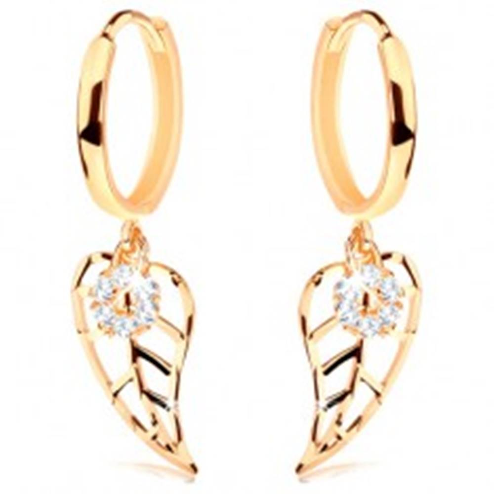 Šperky eshop Náušnice v žltom 14K zlate - krúžok s vyrezávaným listom a čírym kvietkom