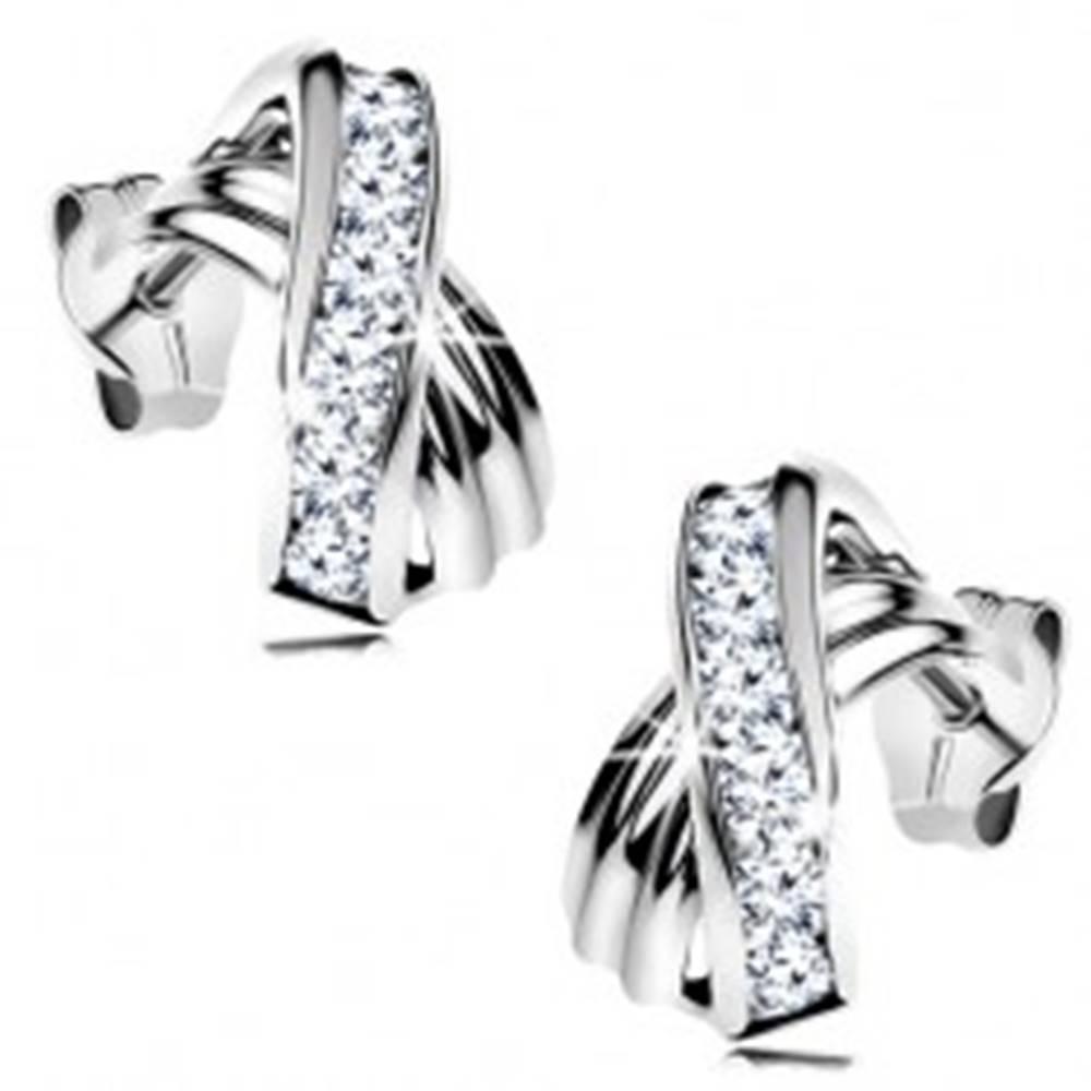 Šperky eshop Náušnice z bieleho 14K zlata - prekrížené zahntuté línie, trblietavé číre zirkóny