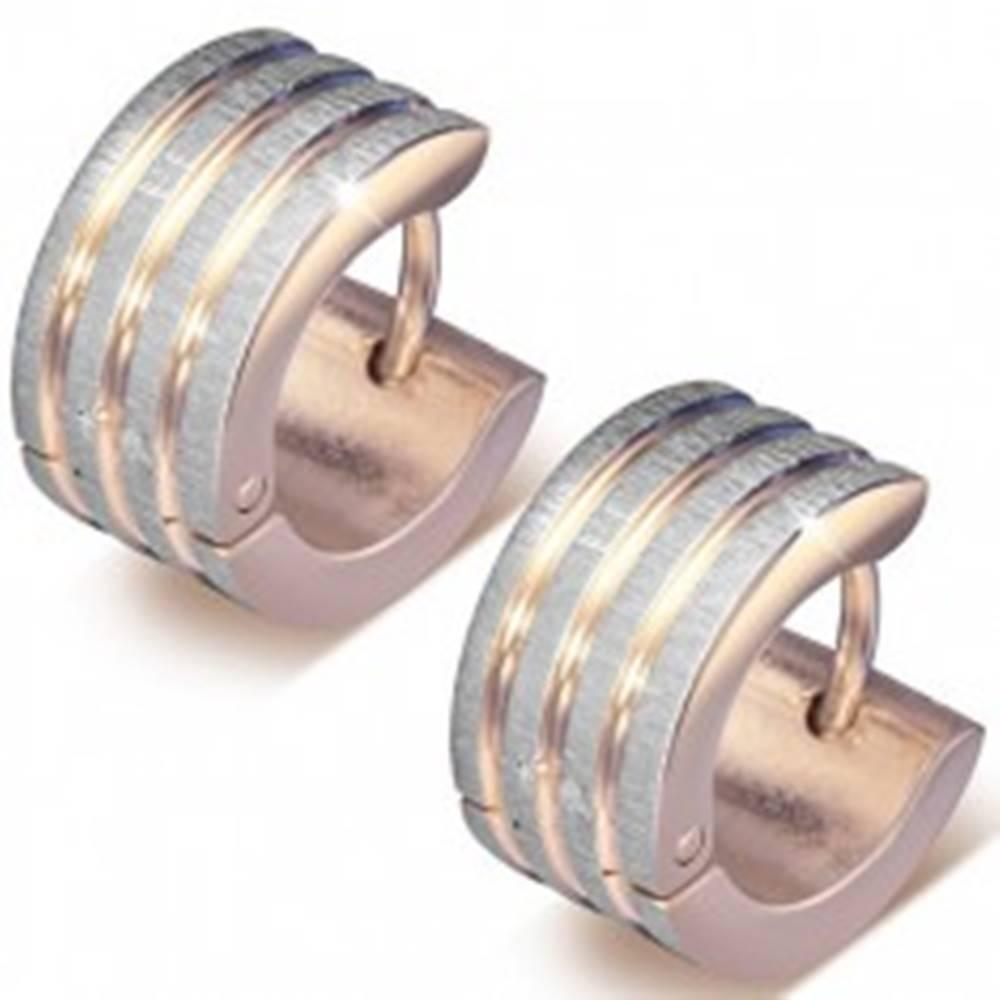 Šperky eshop Náušnice z ocele 316L medenej farby, zvislé pásy s drsným povrchom