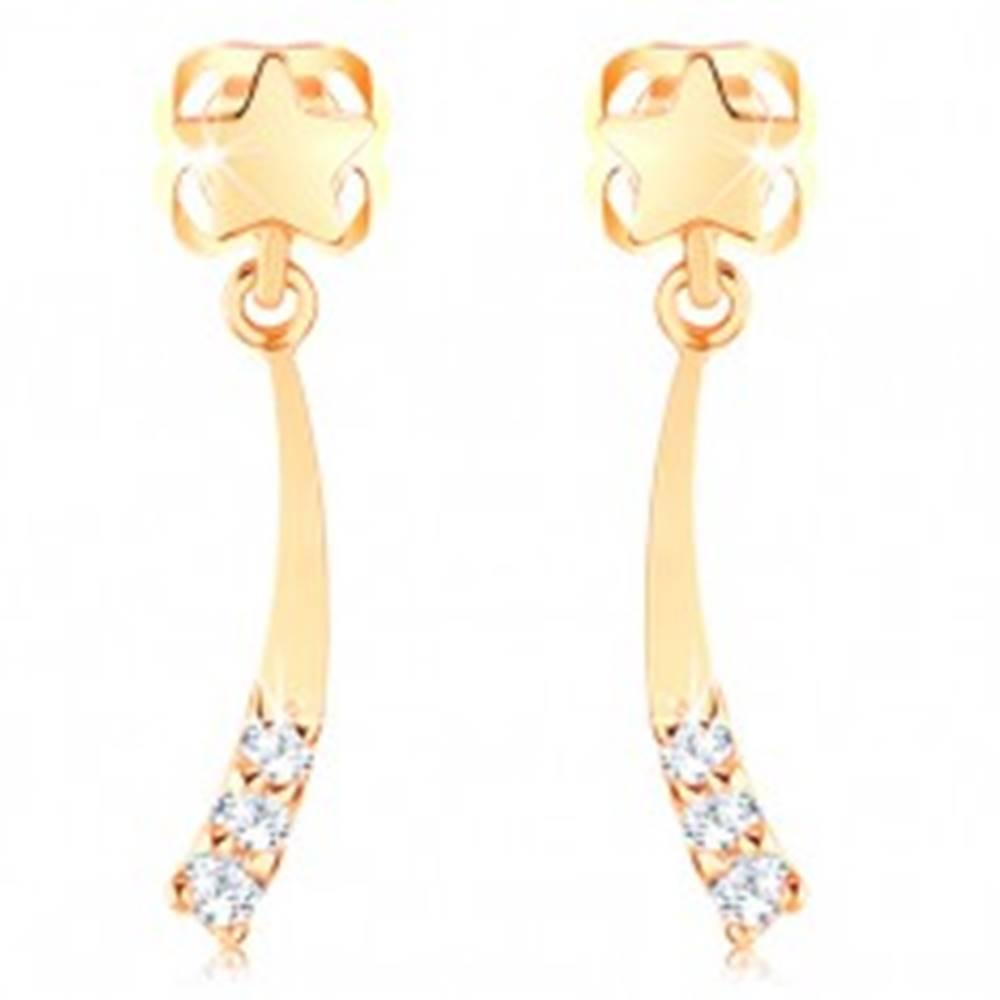 Šperky eshop Náušnice zo žltého 14K zlata - malá lesklá kométa zdobená čírymi zirkónikmi