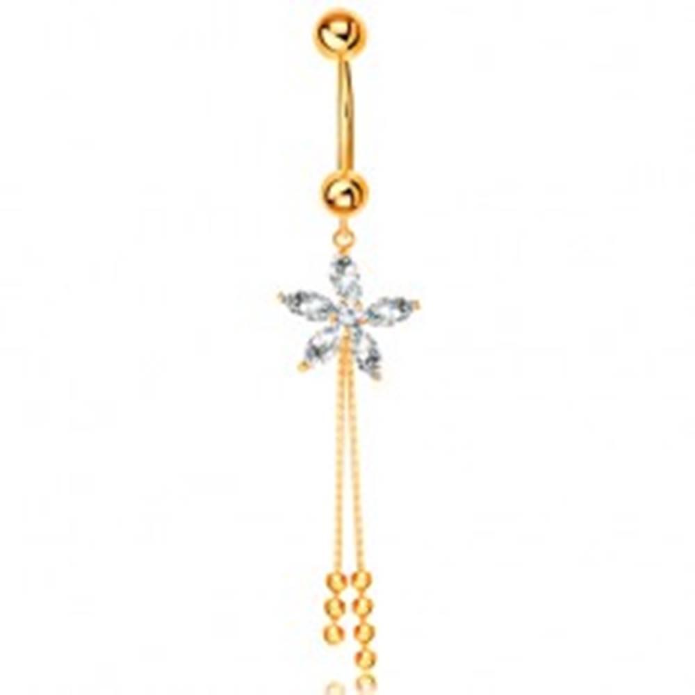 Šperky eshop Piercing do bruška zo žltého 14K zlata - zirkónový kvietok, retiazky s guličkami