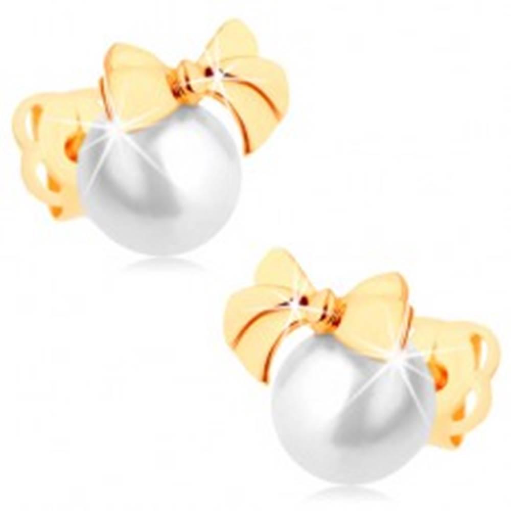 Šperky eshop Puzetové náušnice zo žltého 14K zlata - lesklá mašlička, guľatá biela perla