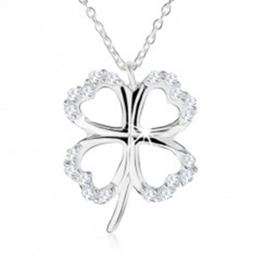 Šperky eshop Strieborný náhrdelník 925 - obrys štvorlístka pre šťastie, číre zirkóny