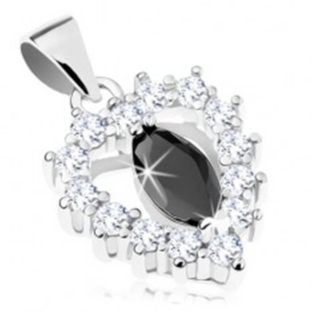 Šperky eshop Strieborný prívesok 925, číra ligotavá kontúra srdiečka, čierne zirkónové zrnko