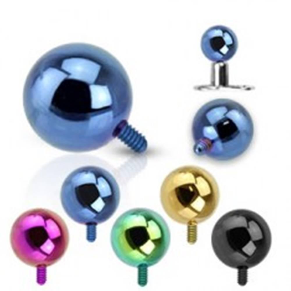 Šperky eshop Gulička do implantátu z ocele 316L - anodizovaný povrch, rôzne farby, 4 mm - Farba piercing: Čierna