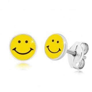 Náušnice zo striebra 925 - usmievavý smajlík, čierno-žltá glazúra, puzetky