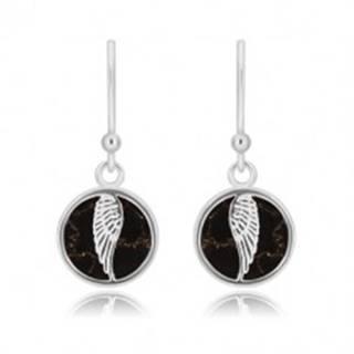 Strieborné 925 náušnice - kruh s anjelským krídlom, čierna glazúra s mramorovým vzorom