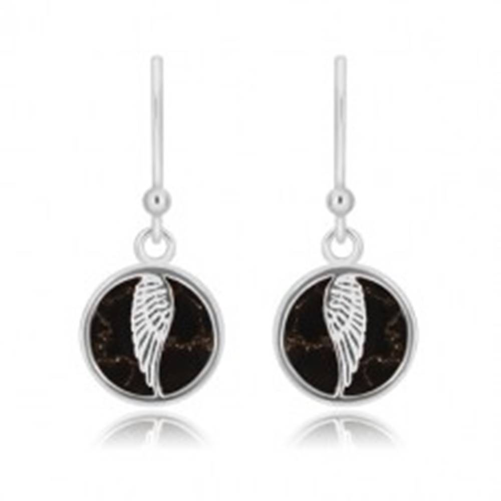 Šperky eshop Strieborné 925 náušnice - kruh s anjelským krídlom, čierna glazúra s mramorovým vzorom