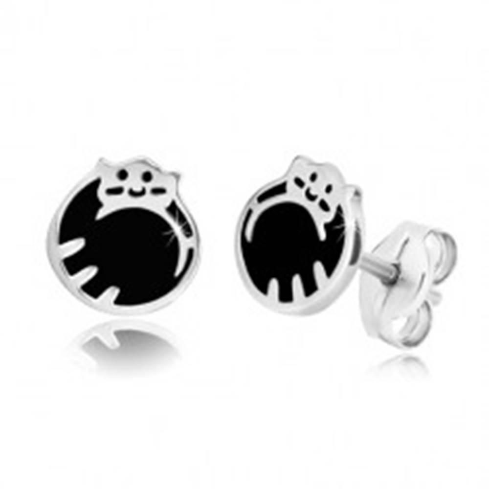 Šperky eshop Strieborné 925 náušnice - mačička schúlená do klbka, čierna glazúra, puzetky