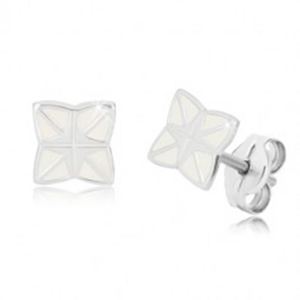 Šperky eshop Strieborné 925 náušnice - štvorcípa hviezda s krížom uprostred, biela glazúra