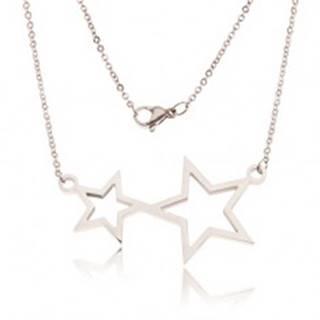 Náhrdelník z ocele, retiazka a kontúry dvoch hviezd