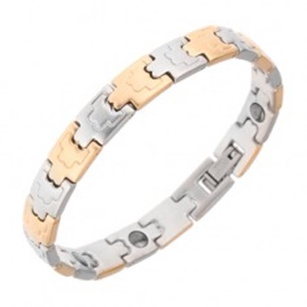 Šperky eshop Náramok z ocele, magnety, matné články, zlatá a strieborná farba