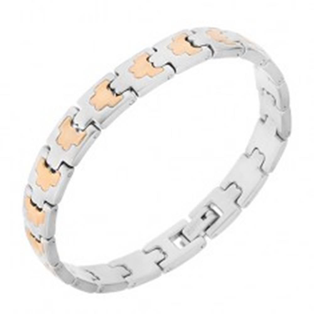 Šperky eshop Oceľový náramok, články strieborno-zlatej farby, ornamenty, 8 mm