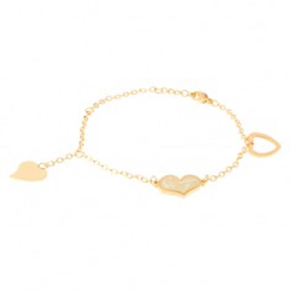 Šperky eshop Retiazka z ocele na ruku zlatej farby, obrys srdca, súmerné a nesúmerné srdce