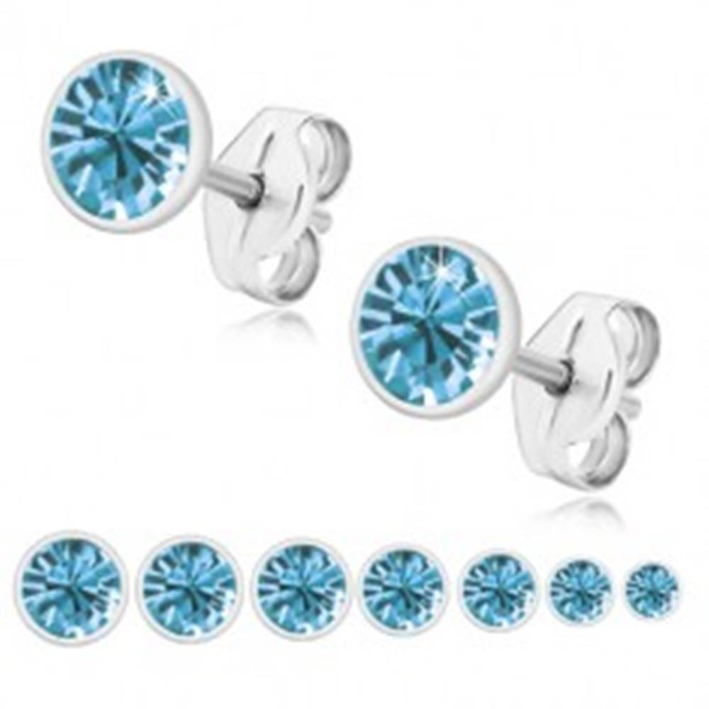 Šperky eshop Strieborné 925 náušnice - ligotavý zirkón v belasom odtieni, lesklá okrúhla objímka - Veľkosť zirkónu: 2 mm