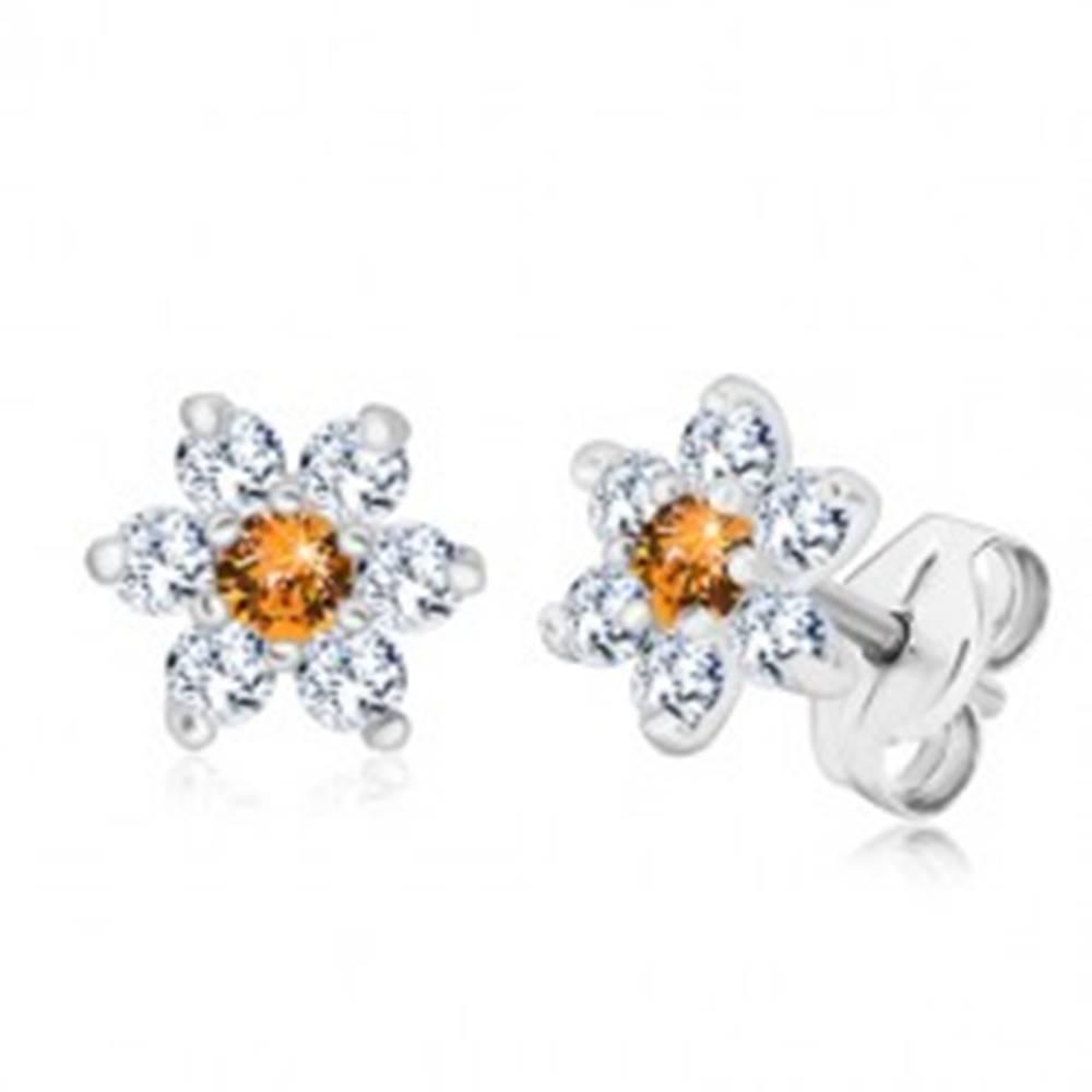 Šperky eshop Strieborné 925 náušnice - trblietavý zirkónový kvet s medovo oranžovým stredom