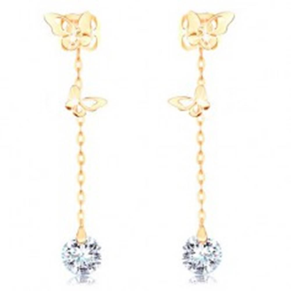 Šperky eshop Zlaté náušnice 585 - dva motýle s výrezmi na krídlach, číry zirkón na retiazke